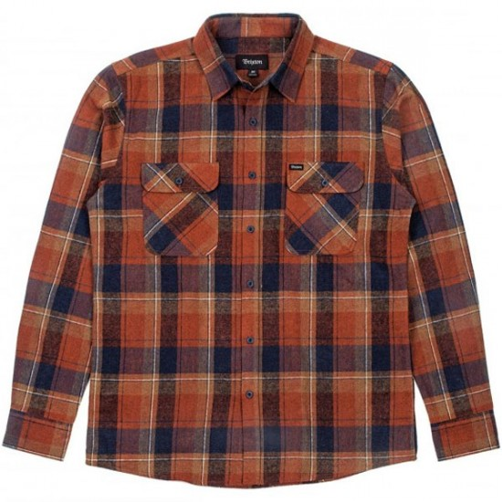 Brixton Bowery Flannel Shirt - Rust/Navy
