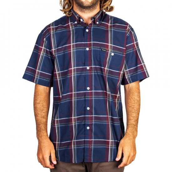 Brixton Howl Short Sleeve Shirt - Navy/Burgundy