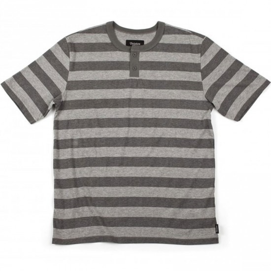 Brixton Townsend Henley T-Shirt - Heather Grey/Charcoal