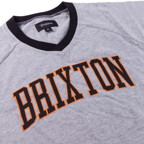 Brixton Victor V-Neck T-Shirt - Heather Grey
