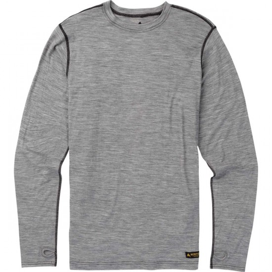 Burton Midweight Crew Snowboard Base Layer - Monument Heather