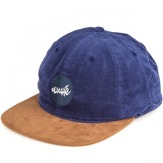 Cliche 6 Panel Corduroy Staple Hat - Navy