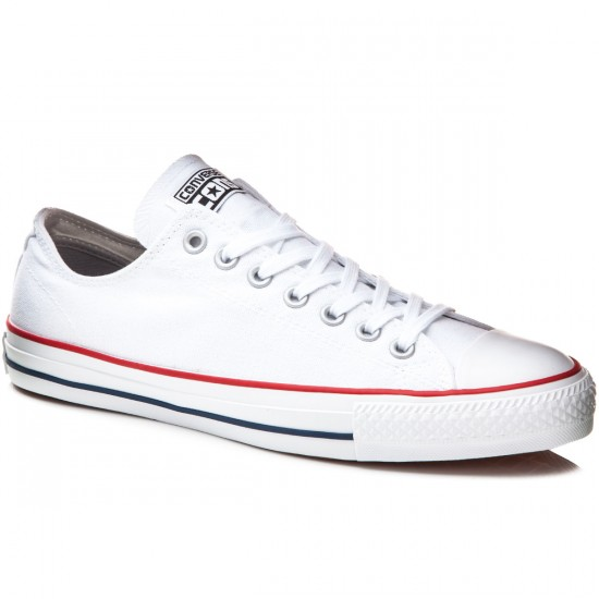 Converse CTAS Pro Canvas Shoes - White/Red/Navy - 7.5