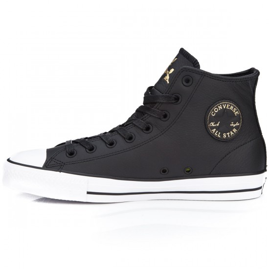 Converse CTAS Pro Hi Shoes - Black/Rich Gold/White - 6.0
