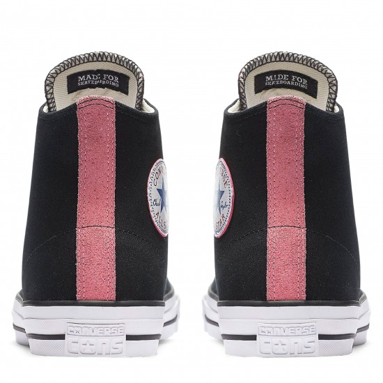 Converse CTAS Pro Hi Suede Backed Shoes - Black/Pink Glow/Natural - 8.0