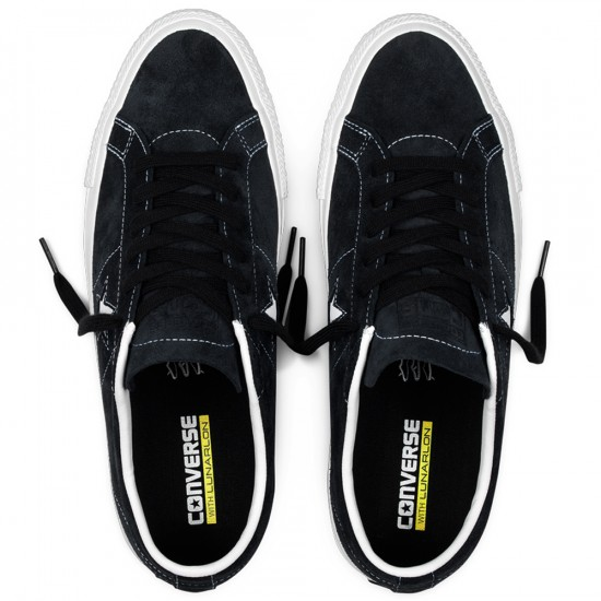 Converse One Star Pro Suede Shoes - Black/White - 8.0