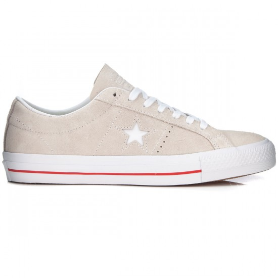 Converse One Star Skate Shoes - Egret/White/Red - 6.0