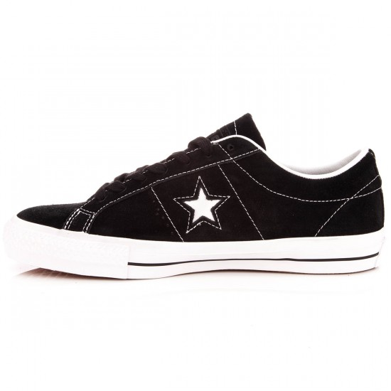 Converse One Star Skate Suede Shoes - Black/White/Black - 6.0