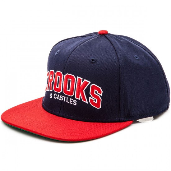 Crooks and Castles Vigorous C&C Snapback Hat - Navy/True Red
