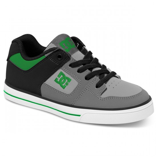 DC Pure Elastic Kid Shoes - Grey/Black/Green - 3Y