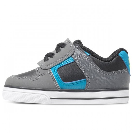 DC Pure V Toddler Shoes - Black/Armor/Turquoise - 8C