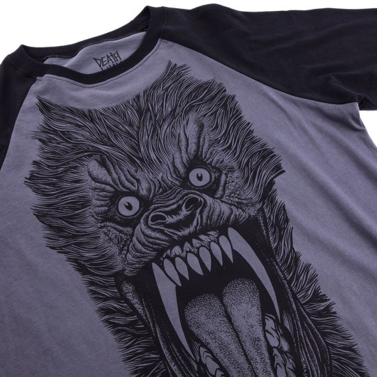 Deathwish Wolf Baseball T-Shirt - Grey/Black