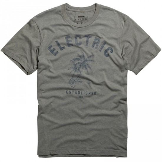 Electric Palms T-Shirt - Slate Heather Blue
