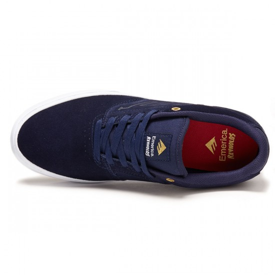 Emerica The Reynolds Low Vulc Shoes - Navy/White/Gold - 8.0