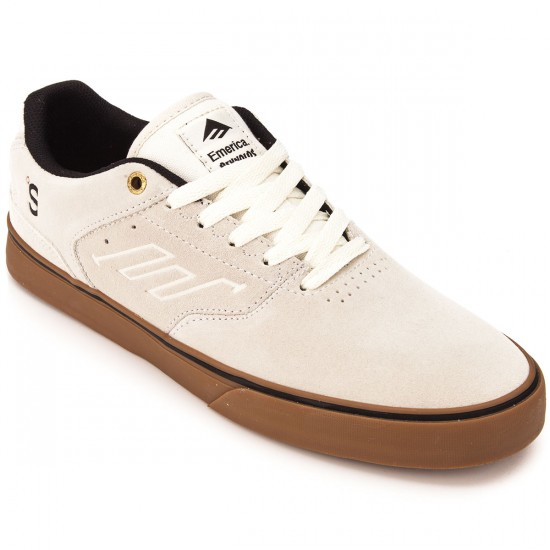 Emerica X The Skateboard Mag Reynolds Low Vulc Shoes - White/Gum - 10.0