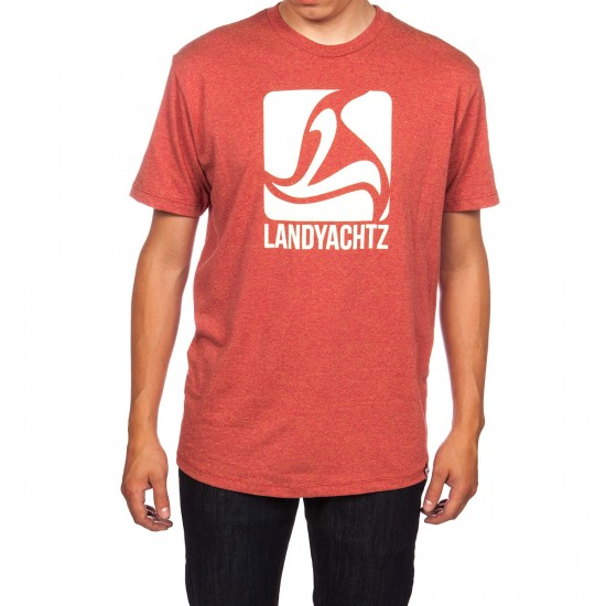 Landyachtz Square Logo T-Shirt - Red/Beige