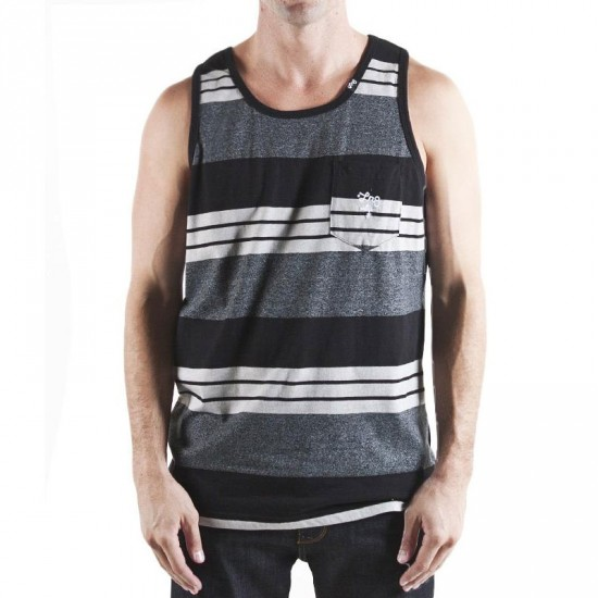 LRG Core Collection Striped Tank Top - Black Heather
