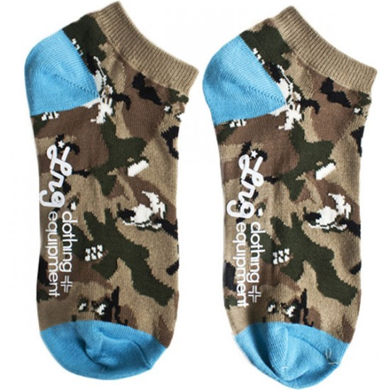 LRG Unnatural Pallete No Show Socks - Khaki/Wolf/Camo