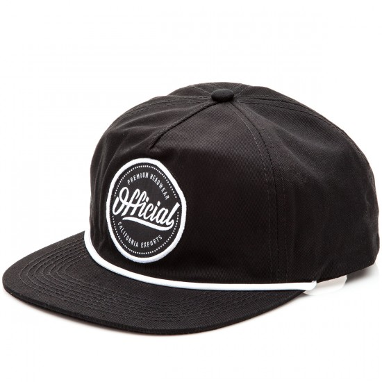 Official Quise Ops 5 Panel Strapback Hat - Black