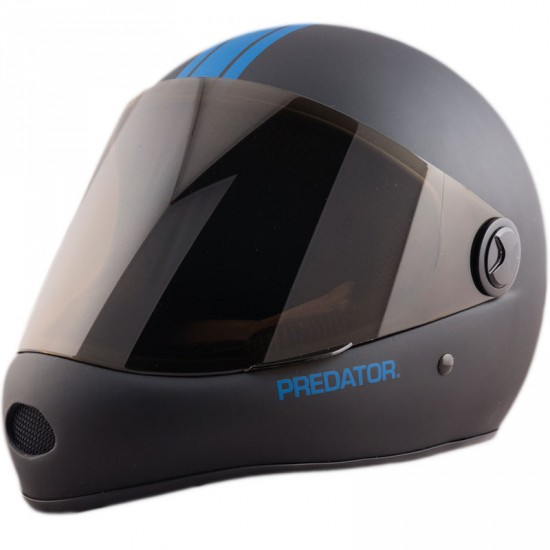 Predator DH6 Full Face Race Helmet - Matte Black with Blue Stripes
