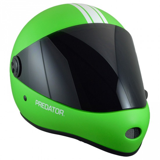 Predator DH6 Matte Fluoro Lime/White Stripes Full Face Race Helmet