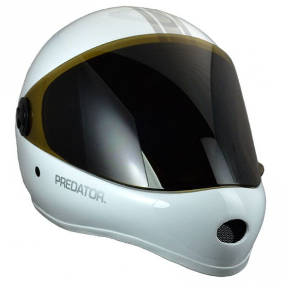 Predator DH6 White/Silver Stripes Full Face Race Helmet