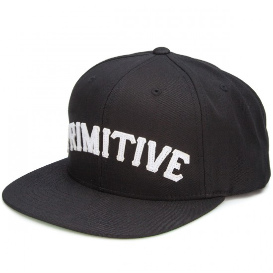 Primitive Slab Type Snapback Hat - Black