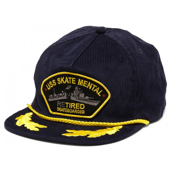 Skate Mental Retired Skateboarder Corduroy Unstructured Hat - Navy Cord
