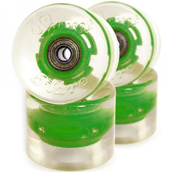 Sunset Flare LED Conical Skateboard Cruiser Wheels - 59mm 78a - Green
