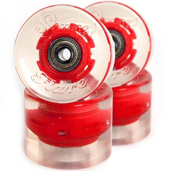 Sunset Flare LED Conical Skateboard Cruiser Wheels - 59mm 78a - Red