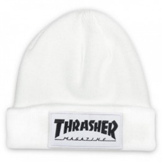Thrasher Patch Beanie - White