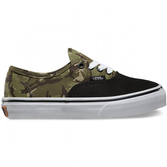 Vans Authentic 2 Tone Camo Shoes - Black/True White - 4Y