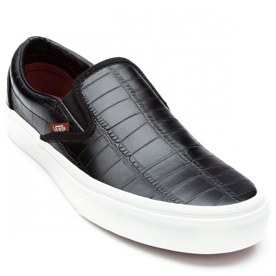 Vans Classic Slip-On Croc Leather Youth Shoes - Black - 4.5