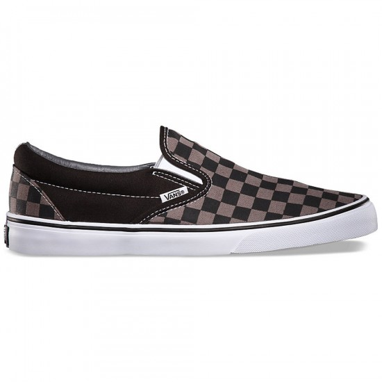 Vans Classic Slip-On Checkerboard Shoes - Black/Pewter - 6.0