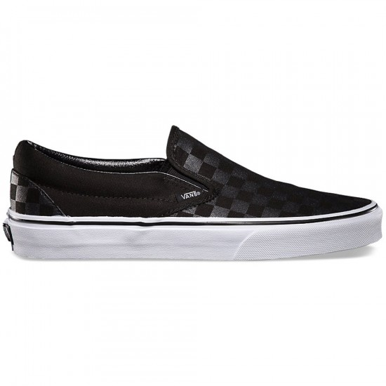 Vans Classic Slip-On Checkerboard Shoes - Black/Black - 6.0