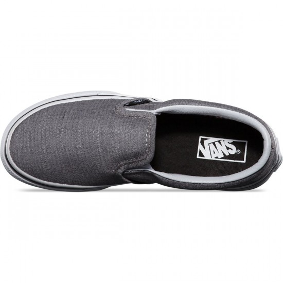 Vans Classic Slip-On Suiting Stripes Youth Shoes - Charcoal/True White - 1Y