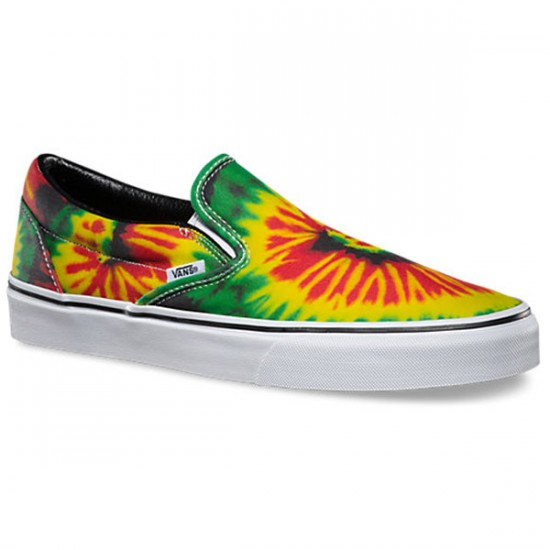 Vans Classic Slip-On Tie Dye Shoes - Rasta/Multi - 10.0