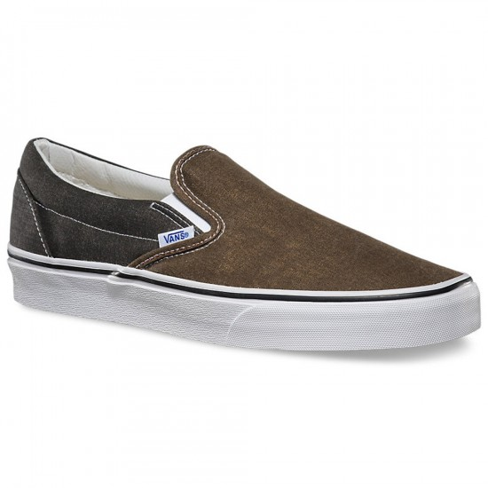 Vans Classic Slip-On Washed 2 Tone Shoes - Black/Desert Palm - 10.0