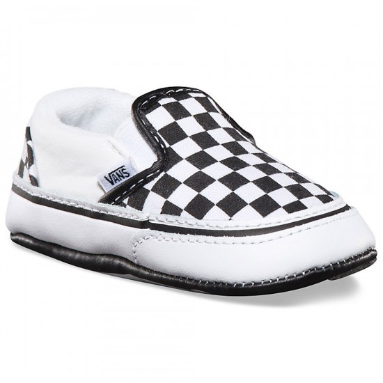 Vans Infant Classic Checkerboard Slip-On Shoes - Black/White - 1C