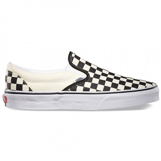 Vans Little/Big Kid Classic Checkerboard Slip-On Shoes - Black/White - 10.5C