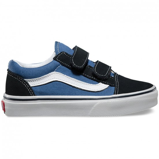 Vans Little Kid Old Skool V Shoes - Navy/True White - 12.5C
