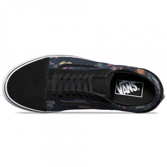 Vans Old Skool Black Bloom Shoes - Black/True White - 6.0