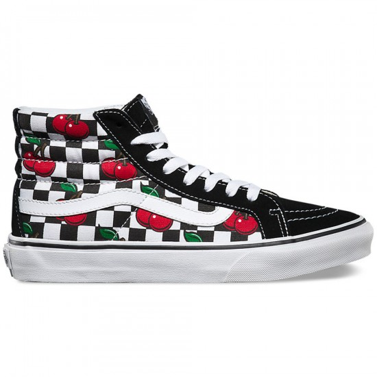 Vans Cherry Checkers Sk8-Hi Slim Shoes - Black/True White - 4.5