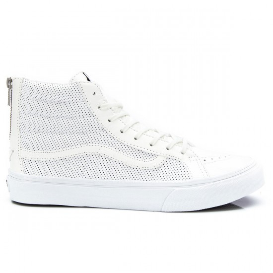 Vans SK8-HI Slim Zip Perforated Leather Shoes - True White - 4.5