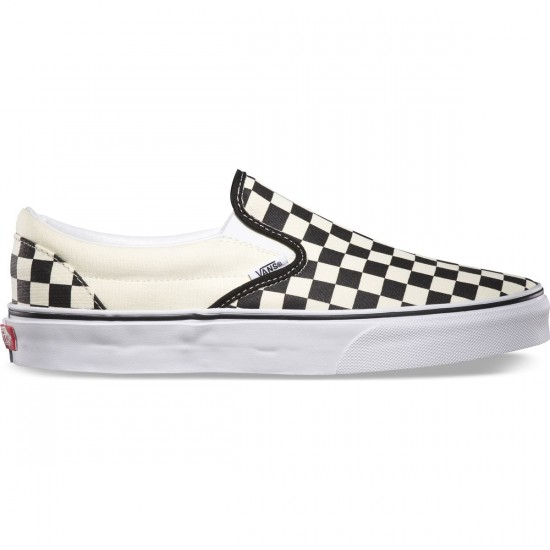 Vans Classic Slip-On Checkerboard Youth Shoes - Black/White - 5.0