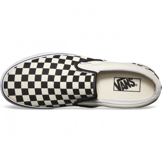 Vans Classic Slip-On Checkerboard Shoes - Black/White - 8.0