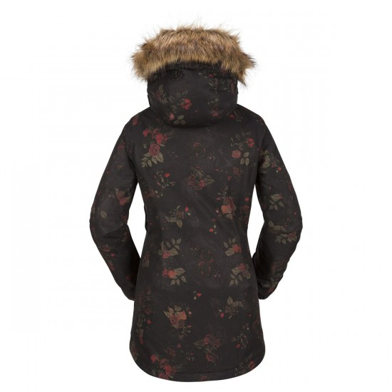 Volcom Mission Insulated Snowboard Jacket - Black Floral Print
