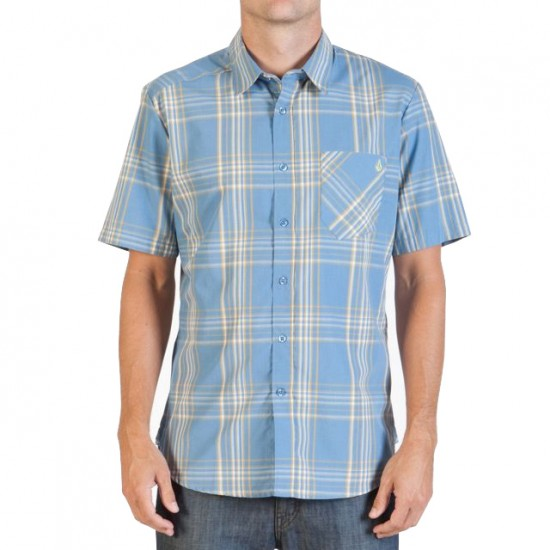 Why Factor Plaid Short Sleeve Shirt - Free Blue