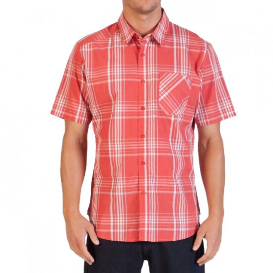 Volcom Why Factor Plaid Short Sleeve Shirt - Drip Red