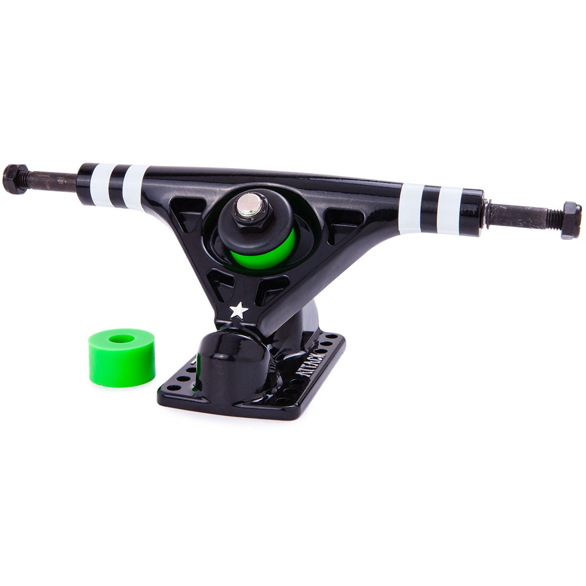 Attack Blackstar RKP Longboard Trucks - Black / White Stripes